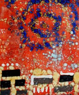 'Astri sulla Citta' pannello da parete su base legno nera