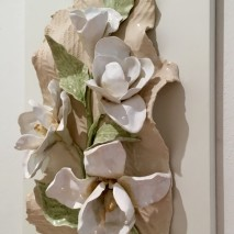 Magnolias 2 white ceramic panel approx. 25cm l. x 50 cm.h.